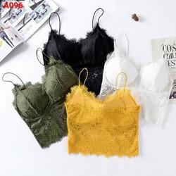 [ Hỗ Trợ 20k đơn 49k ] Áo Ngực Ren Siêu Hot Mùa Tết 4 Màu Rêu Đen Trắng Vàng