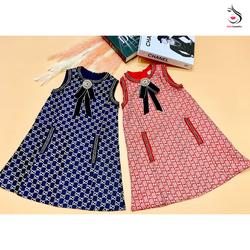 Váy Chữ A Sang Chảnh Kèm Nơ Cho Bé Gái
