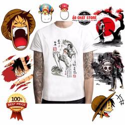 Áo Thun One Piece LUFFY MŨ RƠM Thư Pháp Siêu Đẹp | Áo Phông Anime Đảo Hải Tặc Luffy