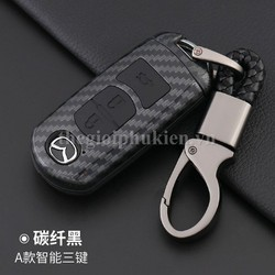 Ốp nhựa carbon, bọc bảo vệ chìa khóa xe Mazda 2, 3, 6, CX-5, CX-8 ... kèm móc đeo INOX