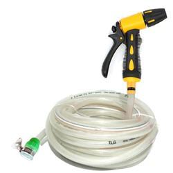 Bộ dây và vòi xịt tăng áp lực nước gấp 3 lần rửa xe tưới cây loạI 10m 319498 - dây trắng