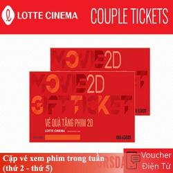 Evoucher Lotte Cinema - Cặp vé xem phim trong tuần thứ 2 đến thứ 5
