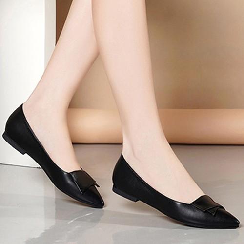 Giày búp bê nữ nơ xếp đế bệt xinh xắn