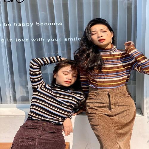 Áo len sọc ngang cổ lọ thời trang cao cấp thương hiệu mary korea