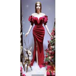 áo cưới đuôi cá nhung tay ngang hoa hồng xẻ đùi đơn giản sang trọng