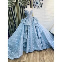 áo cưới cao cấp đuôi dài 4met tùng lớn xanh xám ren tay ngang chụp hình ngọai cảnh