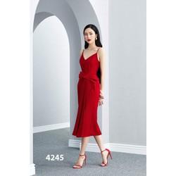 Đầm đỏ hai dây dạo phố 4245
