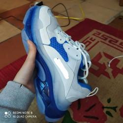 Giày Triple S xanh dương đế hơi