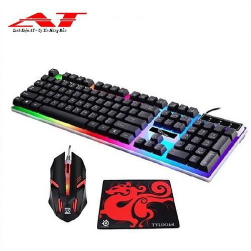 Freeship combo bàn phím led giả cơ g21 và chuột chơi game r8 1602 đen tặng kèm lót chuột