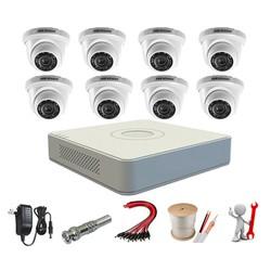 Trọn bộ 8 camera dome Hikvision 2.0MP 56D0T-IRP + DS-7108HGHI-F1 + ổ cứng 1TB+ 80m cáp tín hiệu+8 nguồn 12V1A+ 8 zắc BNC tên miền xem qua mạng trọn đời