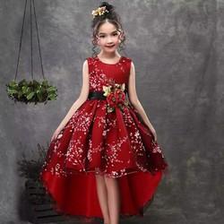 váy đầm bé gái  công chúa hoa đào đuôi tôm