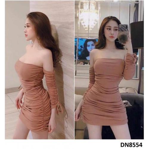 Đầm bẹt vai rút nhúng sexy