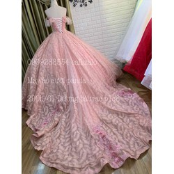 áo cưới tay ngang ren hồng da cam đuôi 3met chụp ngoại cảnh làm lễ bao bền va đẹp lộng lẫy