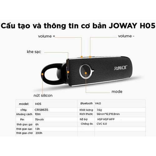 Tai nghe bluetooth  joway h05 - chống ồn cao cấp cho iphone, samsung, android, hỗ trợ đàm thoại 6h liên tục