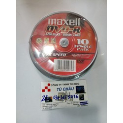 Đĩa trăng DVD-R MAXELL 1-16X Speed - 4.7GB - 120MIN _ HỘP 10 CÁI