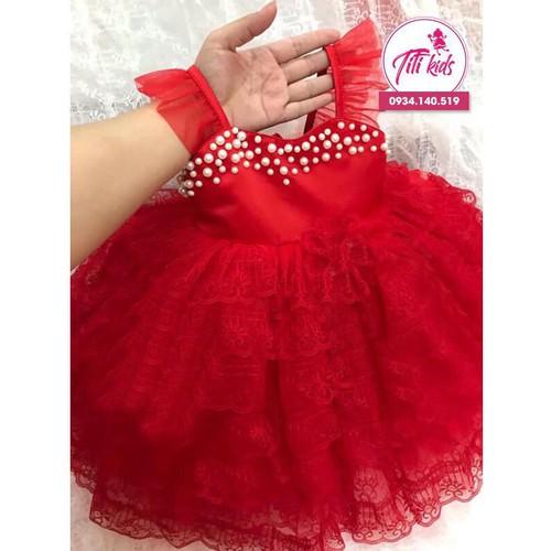 Đầm bé gái đỏ tầng cực xinh 1 - 11 tuổi váy đầm cho bé 2020