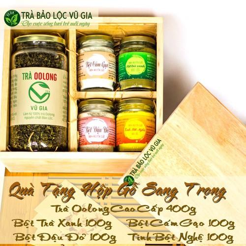 [ hộp quà tặng] trà oolong cao cấp 400g + bột cám gạo + bột trà xanh + tinh bột nghệ + bột đậu đỏ [100g-hũ] nguyên chất bảo lộc vũ gia - đã được kiểm nghiệm y tế - 19626683 , 24265173 , 15_24265173 , 835000 , -hop-qua-tang-tra-oolong-cao-cap-400g-bot-cam-gao-bot-tra-xanh-tinh-bot-nghe-bot-dau-do-100g-hu-nguyen-chat-bao-loc-vu-gia-da-duoc-kiem-nghiem-y-te-15_24265173 , sendo.vn , [ hộp quà tặng] trà oolong cao c