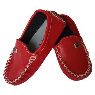 Giày lười cho bé gái màu đỏ da thật - giay11 thumbnail