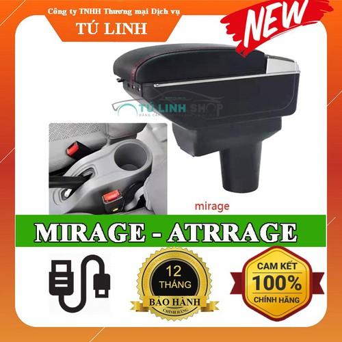Hộp tỳ tay xe attrage - mirage cao cấp tích hợp cổng sạc usb - bảo hành 12 tháng