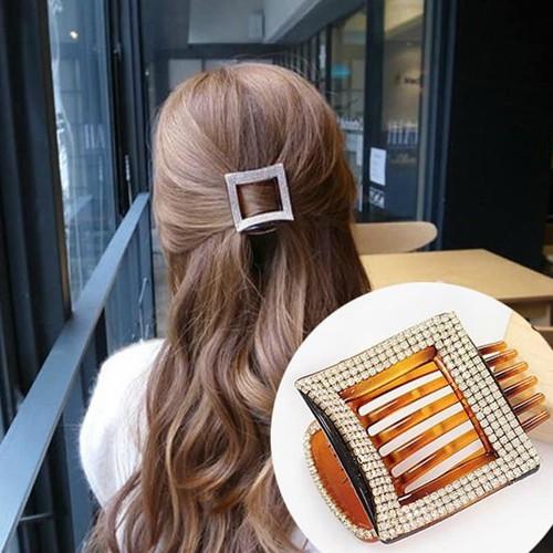 Kẹp tóc vuông đính đá sang trọng kẹp tóc vuông