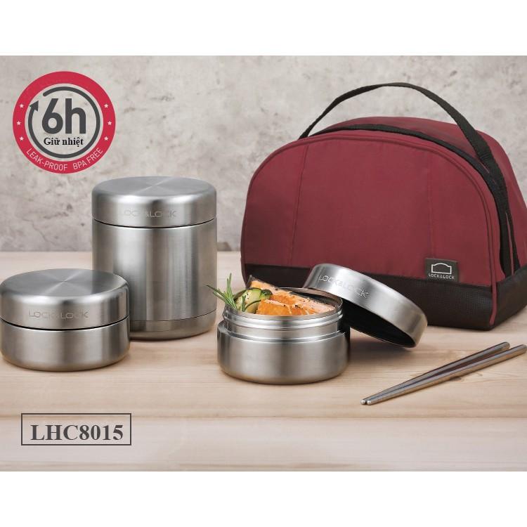 Bộ hộp cơm trưa lock lock bằng inox kèm túi giữ nhiệt lhc8015 lhc8016