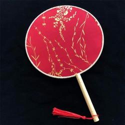 Quạt tròn cổ trang nền đỏ 2 mẫu cầm tay cosplay trang trí