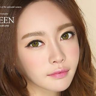 Lens mắt kính áp tròng Xanh Green, không độ, Tặng khay đựng sử dụng 1 năm không cộm mắt L14 - 14l thumbnail