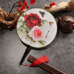 Quạt tròn cổ trang mẫu đơn hoa dây tuyến quà tặng cosplay xinh xắn