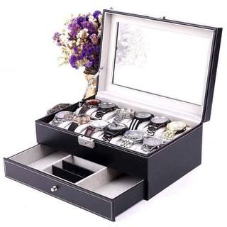 Hộp đựng đồng hồ và trang sức 2 tầng có ngăn kéo - hộp đồng hồ 2 tầng thumbnail