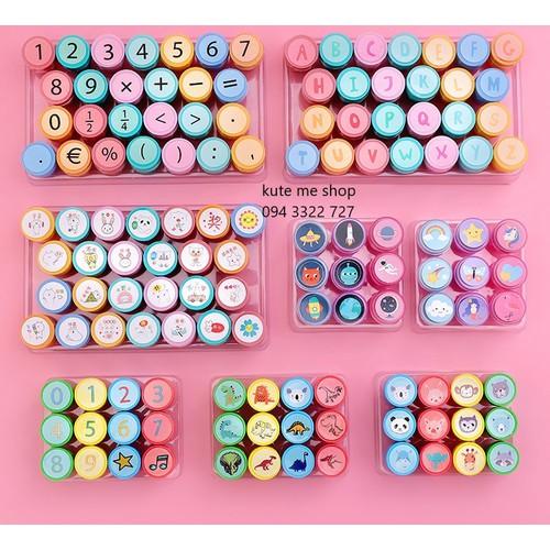 Set 3 con dấu đồ chơi, nhiều hình, nhiều màu, cho bé tha hồ khám phá