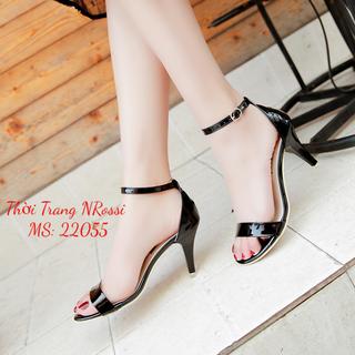 Giày cao gót Nữ nhọn 7 Phân Màu Đen Bóng Big Size 40 đến 43 - NRossi 22055 thumbnail