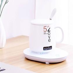 Bộ đế giữ nhiệt và cốc,nắp,thìa 52ove cute cho dân văn phòng trong mùa đông lạnh giá này