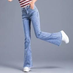 Quần jean nữ ống Bass Loe BIG SIZE thời trang lưng siêu cao, vải jean co dãn mạnh 3038 3005
