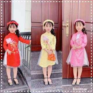 Áo dài bé gái chất Gấm Lụa  từ 11-22kg