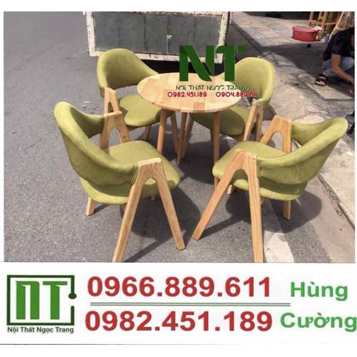 Bàn ghế gỗ nệm cafe