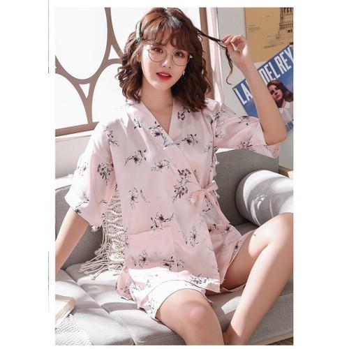 Kimono pyjama lụa không nhăn cao cấp hoa ban