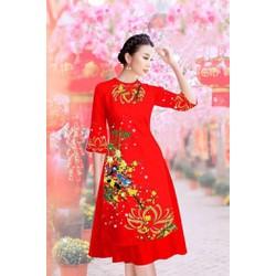 Áo dài nữ  hoa cỏ mùa xuân vải tơ lụa size M, L, XL, 2XL, 40-72kg  trúc xinh thiết kế cao cấp