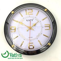 Đồng hồ treo tường hình tròn Vati F40 - trắng đên - máy tốt đúng giờ