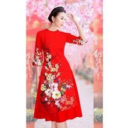 Áo dài nữ hoa cỏ mùa xuân vải tơ lụa size M, L, XL, 2XL, 40-72kg thiết kế cao cấp
