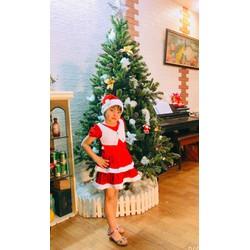 váy đầm Noel 2 tầng chất liệu nhung hoá trang Noel