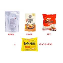Combo  Bánh Gạo Hàn Quốc Topokki 1Kg Kèm Sốt 150G Và Bột Phô Mai 100G   Tặng Mì Không Gia Vị Ottogi