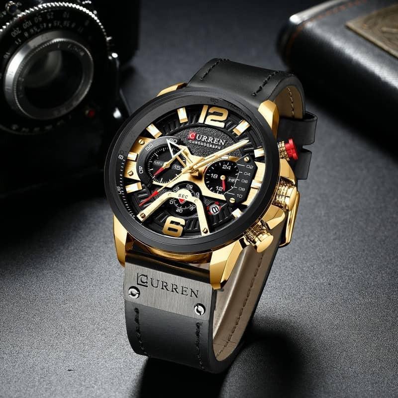 Đồng hồ doanh nhân nam chống nước Curen 8329 - Dây đen mặt vàng