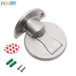 Bộ chặn cửa đế dẹp mỏng Inox SUS304 dán tường gạch men, có nam châm hút mạnh không giật cửa, kiểu mới - Hobby CC2