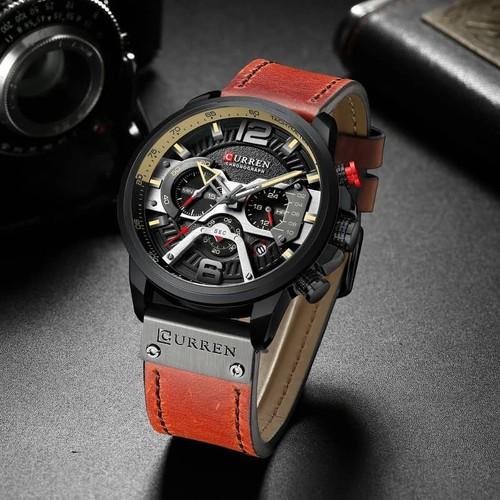 Đồng hồ doanh nhân nam chống nước Curen 8329 - Dây nâu đỏ mặt đen