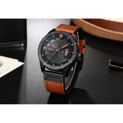 Đồng hồ doanh nhân nam chống nước Curen 8301- Dây cam mặt đen