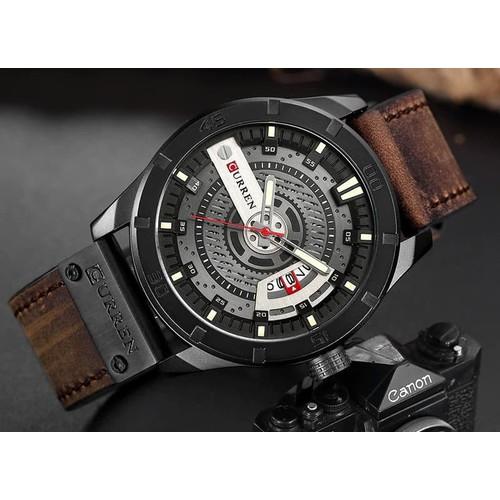 Đồng hồ doanh nhân nam chống nước Curen 8301- Dây nâu mặt đen