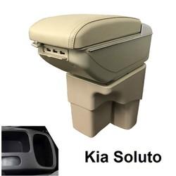 Hộp tỳ tay ô tô dành cho xe Kia Soluto cao cấp DUSB-SLT tích hợp 7 cổng USB: Màu Đen và Kem