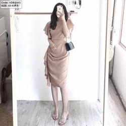 Đầm kem nữ tay cánh tiền bèo 1 bên Big size 65kg