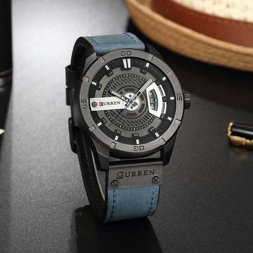 Đồng hồ doanh nhân nam chống nước Curen 8301- Dây xanh mặt đen