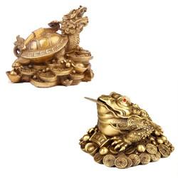 Bộ linh vật trên ban thờ thần tài cóc thiềm thừ rùa đầu rồng long quy cõng gậy như ý bằng đồng thau phong thủy Hồng Thắng - cỡ nhỏ